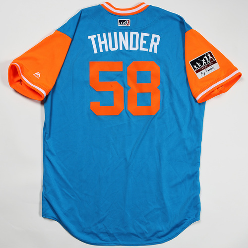 "Photo of Dan ""Thunder"" Straily Miami Marlins Game-Used Jersey 2018 Players' Weekend Jersey"