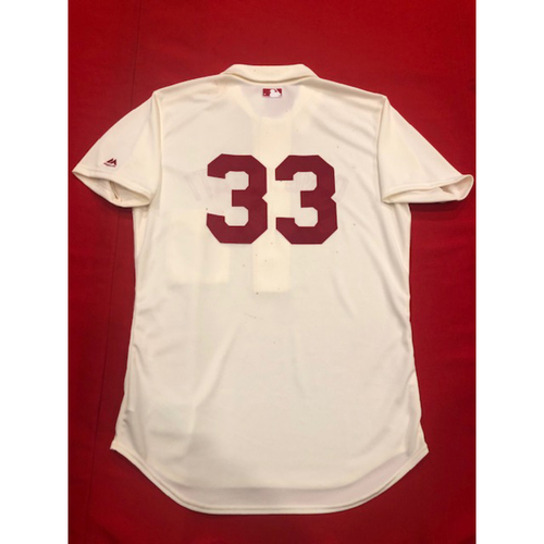 Photo of Jesse Winker -- 1902 Throwback Jersey -- Game-Used -- SF vs. CIN on May 4, 2019