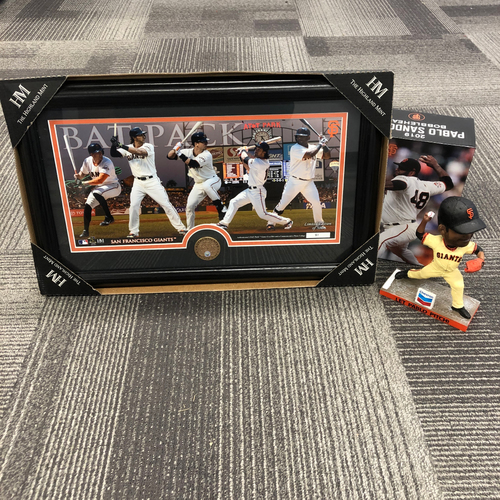 "Photo of San Francisco Giants World Series Champion Hitters Frame & ""Let Pablo Pitch"" Bobblehead"