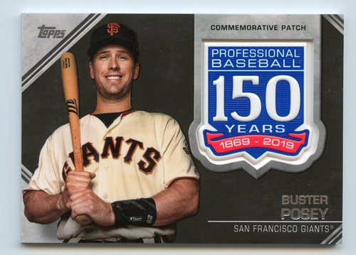 Photo of 2019 Topps 150th Anniversary Manufactured Patches #AMPBP Buster Posey S2