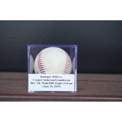 Photo of Game-Used Baseball: Hammer (PHI) vs Cooper/Anderson/Granderson, Bot. 7th, Walk/RBI Triple (1)/Foul (June 30, 2019)