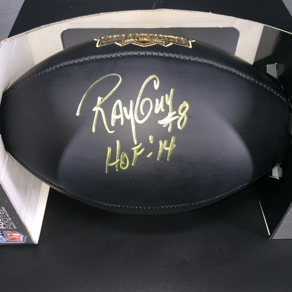 HOF - Raiders Ray Guy Signed Commemorative Black Hall of Fame Football