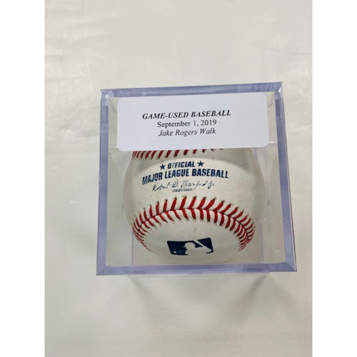 Photo of Game-Used Baseball: Jake Rogers Walked by Sam Dyson