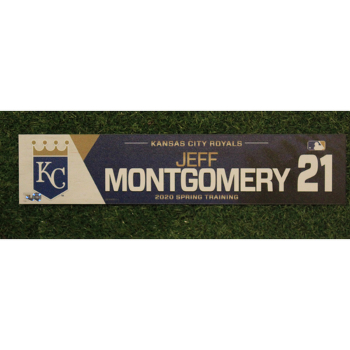 Photo of Game-Used Spring Training Locker Tag: Jeff Montgomery #21