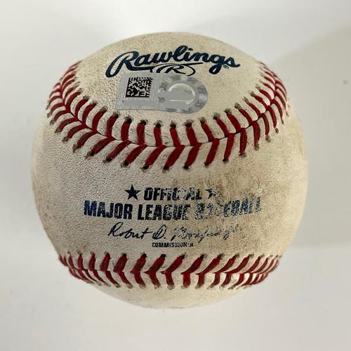 Photo of Game-Used Baseball - Austin Riley 2-RBI Double vs. Humberto Mejia - Braves @ D-backs 9/20/2021