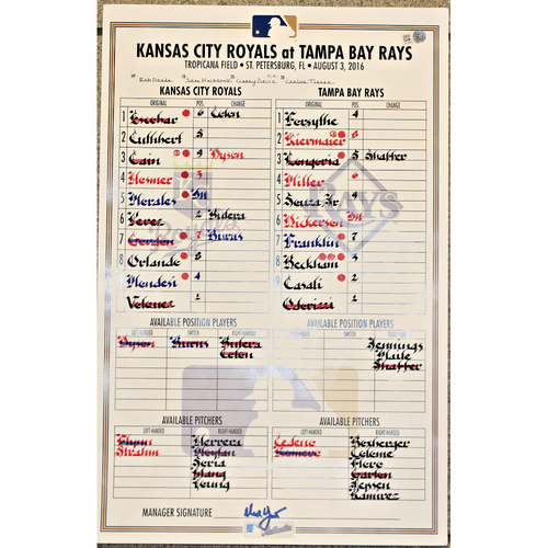 Game-Used Line Up Card: Aug 03, 2016 (KC at TB)