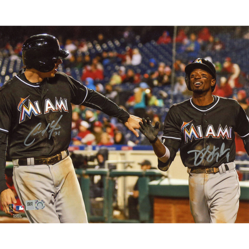 """Photo of Christian Yelich and Dee Gordon Miami Marlins Autographed 8"""" x 10"""" Black Jerseys Photograph"""