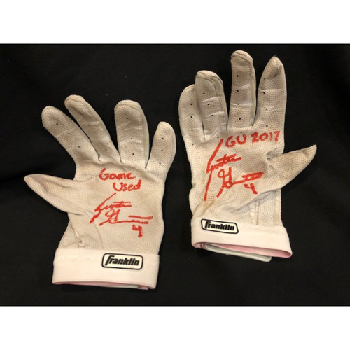 Photo of Scooter Gennett - Autographed Batting Gloves - Used During 2017 Season