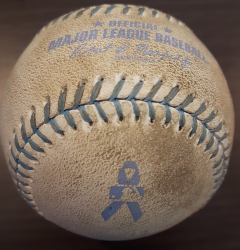 Photo of Authenticated Game Used Father's Day Baseball - Sacrifice Bunt by Melky Cabrera against J.A. Happ; Top 5 (June 18, 2017)