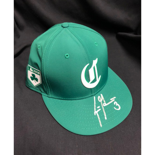 Photo of Scooter Gennett -- Autographed -- Reds St. Patrick's Day Cap -- Game-Used