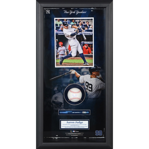 Photo of Aaron Judge New York Yankees Framed Baseball Shadowbox with All Rise Inscription and Pen Used to Sign Item