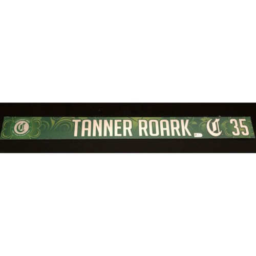 Photo of Tanner Roark -- Team-Issued Locker Name Plate -- 2019 St. Patrick's Day