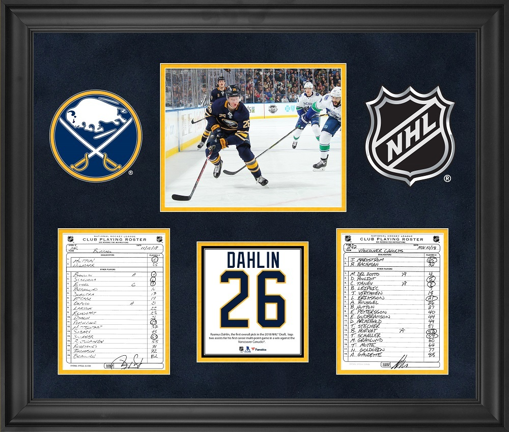 Buffalo Sabres Framed Original Line-Up Cards from November 10, 2018 vs. Vancouver Canucks - Rasmus Dahlin First NHL Multi-Point Game