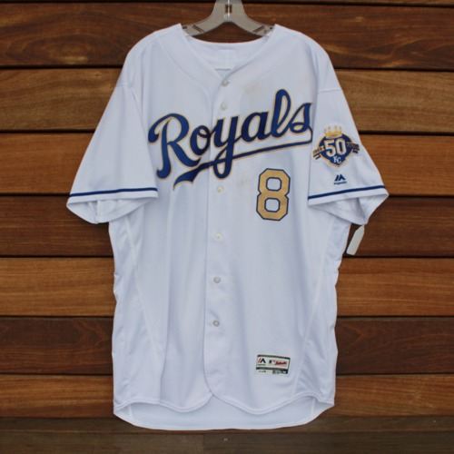 Photo of Game-Used Jersey: Mike Moustakas 803rd Career Hit (DET @ KC - 5/4/2018 - Size 50)