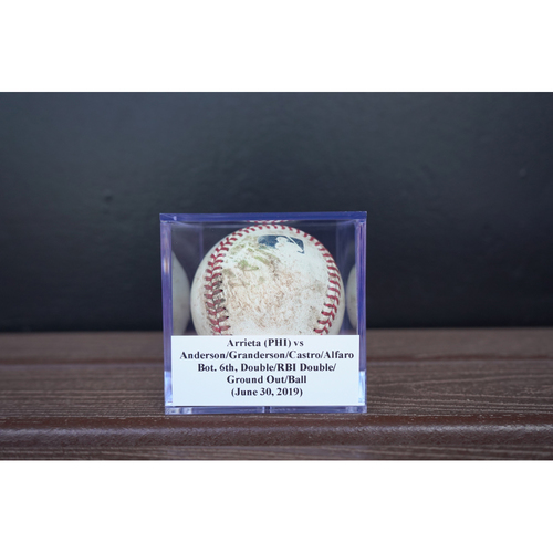 Photo of Game-Used Baseball: Arrieta (PHI) vs Anderson/Granderson/Castro/Alfaro, Bot. 6th, Double/RBI Double/Ground Out/Ball (June 30, 2019)