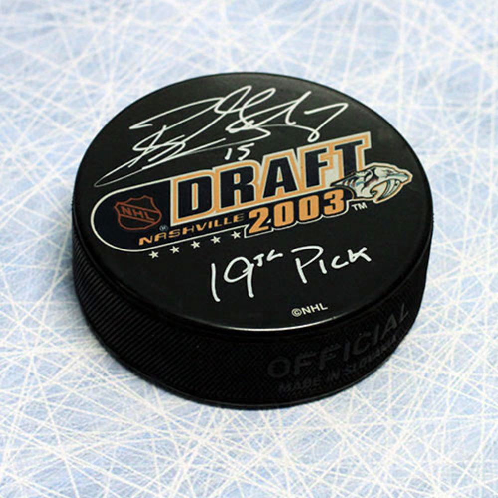 Ryan Getzlaf Autographed 2003 Draft Day Puck w/ 19th Pick Inscription *Anaheim Ducks*