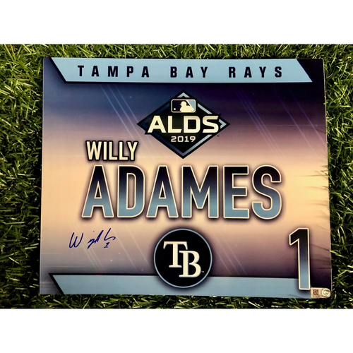 Photo of Game Used ALDS Locker Tag: Willy Adames - October 7, 2019 v HOU