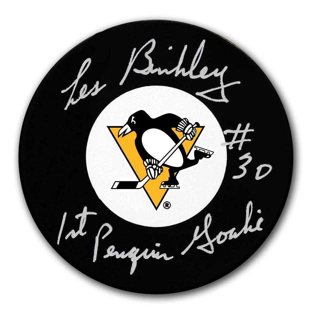 Les Binkley Pittsburgh Penguins 1st Penguins Goalie Autographed Puck