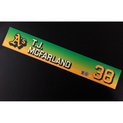 Photo of Game-Used 2020 Season Locker Nameplate - T.J. McFarland