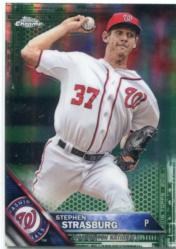 Photo of 2016 Topps Chrome Green Refractors 67/99 #40 Stephen Strasburg -- Nationals post-season