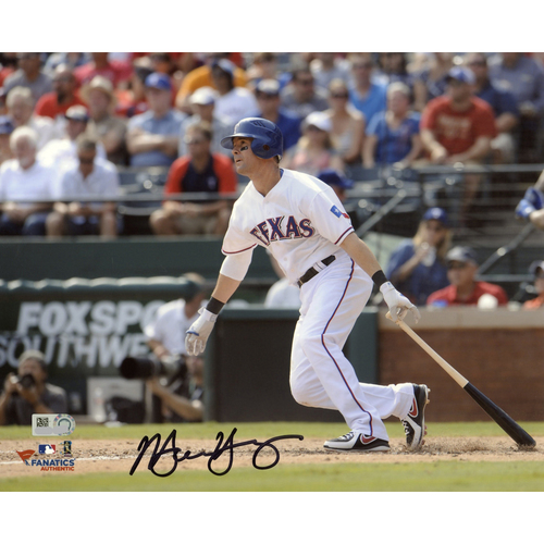 """Photo of Michael Young Texas Rangers Autographed 8"""" x 10"""" Cameraman Photograph"""