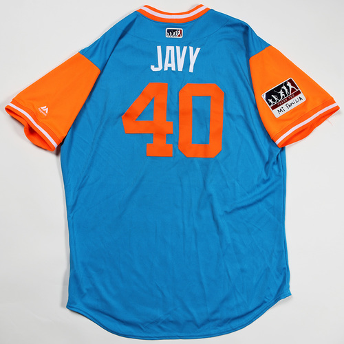 "Photo of Javy ""Javy"" Guerra Miami Marlins Game-Used Jersey 2018 Players' Weekend Jersey"