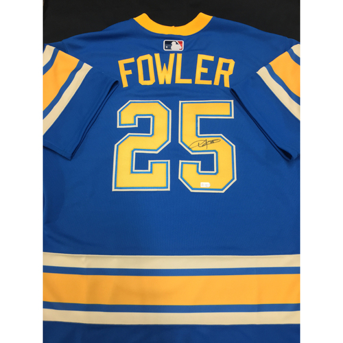 a19913120 Dexter Fowler Autographed Team-Issued 2017 St. Louis Blues Themed Cardinals  Jersey