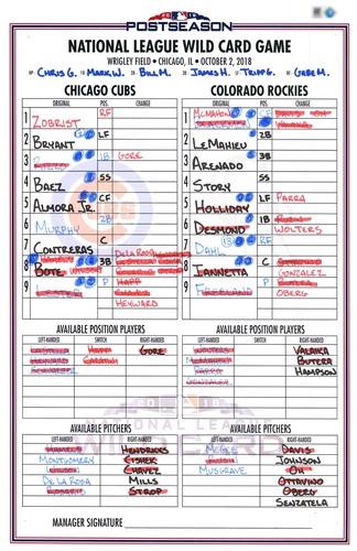 Photo of Game-Used Lineup Card -- 2018 N.L. Wild Card Game -- Lester 6 IP, 1 ER, 9 K -- Rockies vs. Cubs -- 10/2/18