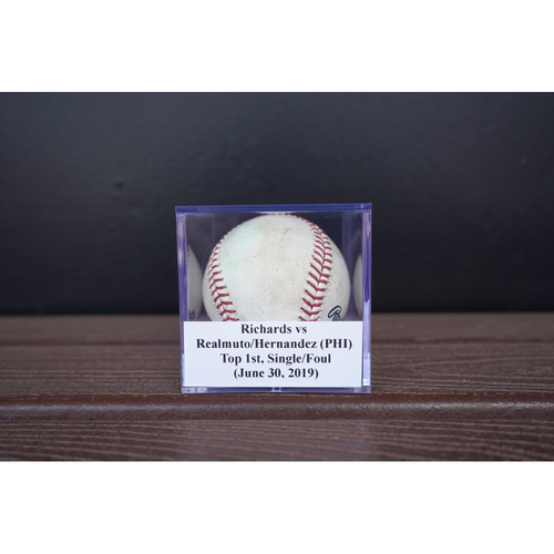 Photo of Game-Used Baseball: Richards vs Realmuto/Hernandez (PHI), Top 1st, Single/Foul (June 30, 2019)