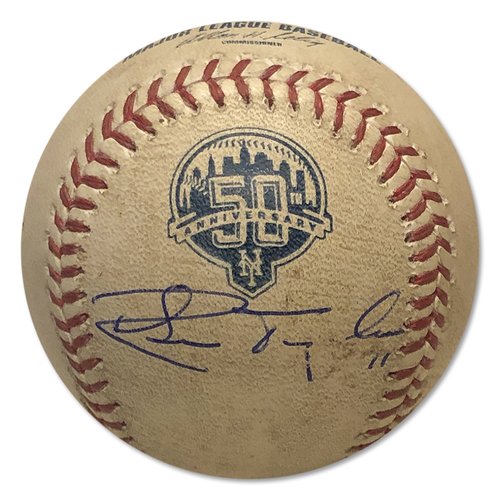 Photo of Ruben Tejada Autographed Game Used Baseball - Jordan Lyles to Ruben Tejada - Pitch in the Dirt - 1st Inning - Mets vs. Astros - 8/24/12