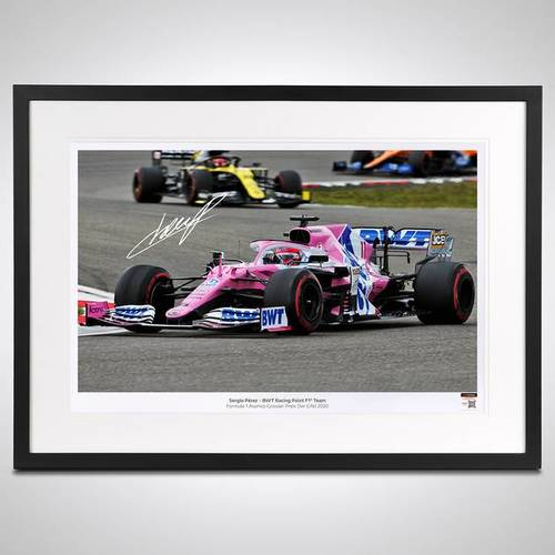 Photo of SERGIO PEREZ 2020 FRAMED SIGNED PHOTO - GERMAN GP