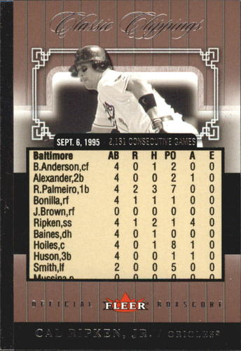 Photo of 2005 Classic Clippings Official Box Score #2 Cal Ripken/1995