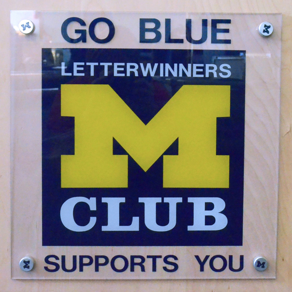"""Photo of Authentic Letterwinners M Club 16 x 16"""" Square Poly Sign MClub Supports You"""
