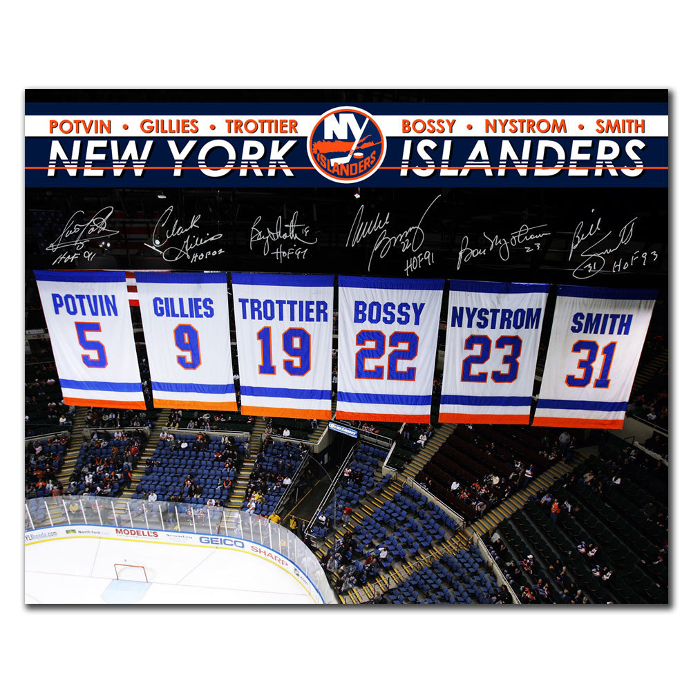 New York Islanders Retired Numbers Banners Autographed 16x20 Signed by 6