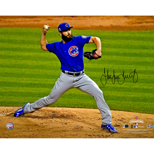 """Photo of Jake Arrieta Chicago Cubs 2016 MLB World Series Champions Autographed 16"""" x 20"""" World Series Pitching Photograph"""