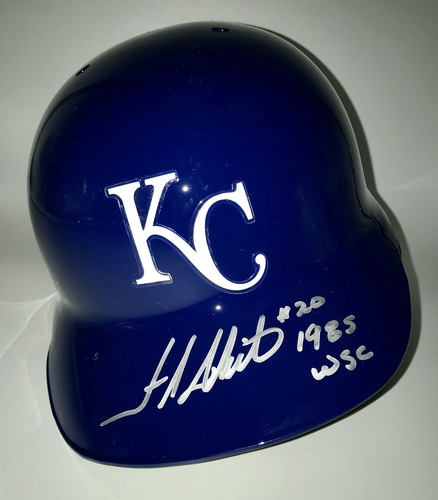 "Photo of Frank White ""1985 WSC"" Autographed Full-Size Royals Batting Helmet"