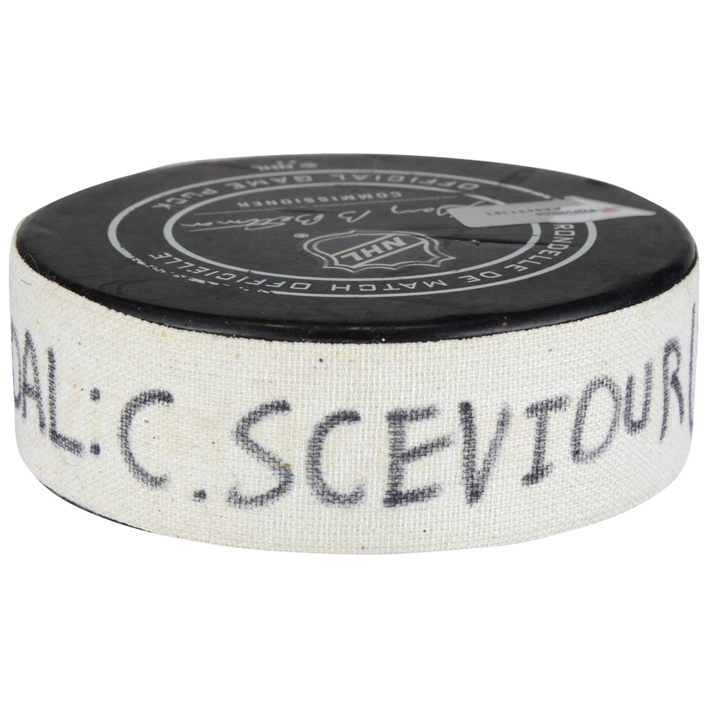Colton Sceviour Florida Panthers Game-Used Goal Puck from April 7, 2018 vs. Buffalo Sabres