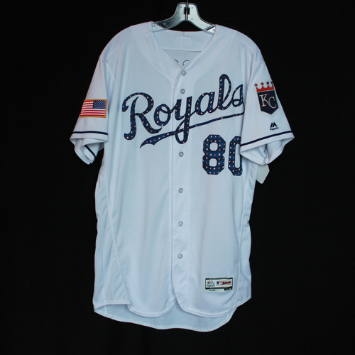 Photo of Game-Used Independence Day Game Jersey: Ryan Eigsti (Size 46 - CLE @ KC - 7/4/18)
