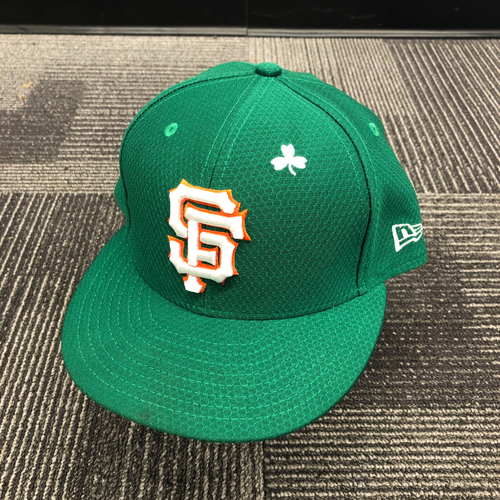 Photo of 2019 Game Used St. Patrick's Day Cap worn by #41 Mark Melancon on 3/17 vs. Kansas City Royals - Size 7 3/8