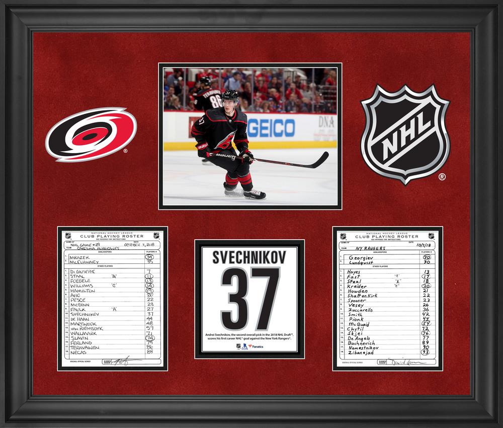 Carolina Hurricanes Framed Original Line-Up Cards from October 7, 2018 vs. New York Rangers - Andrei Svechnikov First NHL Goal