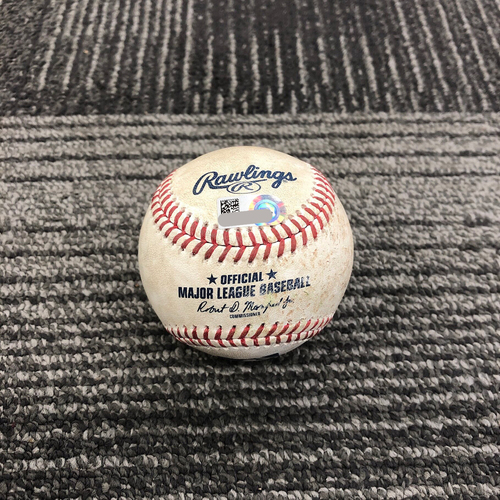 2019 Game Used Baseball used on 5/22 vs Atlanta Braves - B-9: Josh Tomlin to Stephen Vogt - Single to 2nd