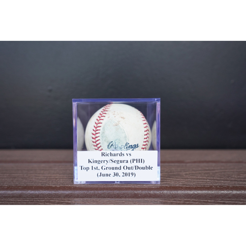 Photo of Game-Used Baseball: Richards vs Kingery/Segura (PHI), Top 1st, Ground Out/Double (June 30, 2019)