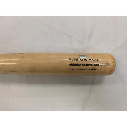 Photo of Andrew Benintendi May 21, 2019 Game Used Cracked Bat