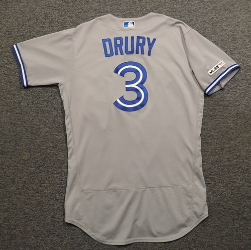 Photo of Authenticated Game Used Jersey: #3 Brandon Drury (Jul 29, 19 vs KC: 1-for-5, Aug 6, 19 vs TB: 3-for-4 with 1 HR, 2 Runs, 3 RBIs). Size 44