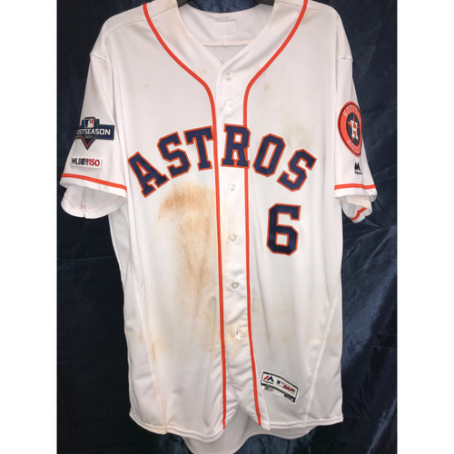 Photo of Jake Marisnick 2019 Game-Used Postseason Home Jersey (Sz 46) (ALCS Game 6)