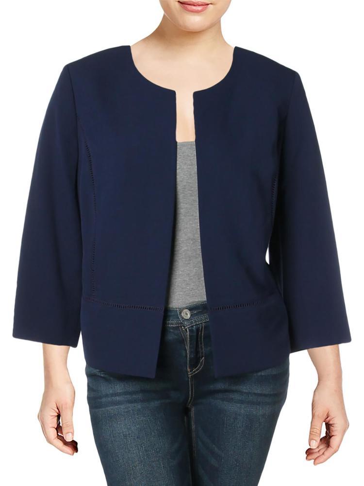 Photo of Kasper Womens Plus Collarless Business Open-Front Blazer