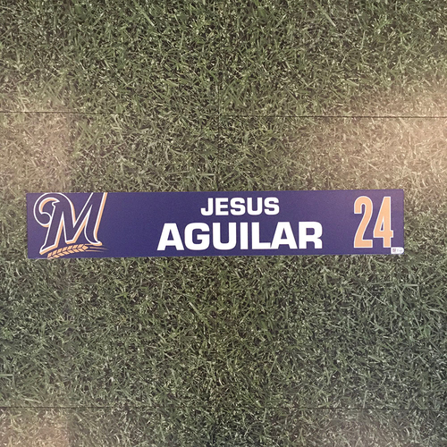 Photo of Jesus Aguilar 2019 Game-Used Locker Nameplate