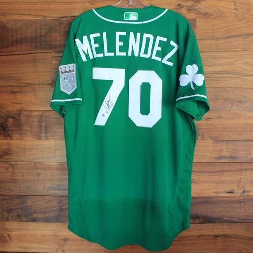 Photo of Autographed 2020 St. Patrick's Day Jersey: MJ Melendez #70 - Size 46