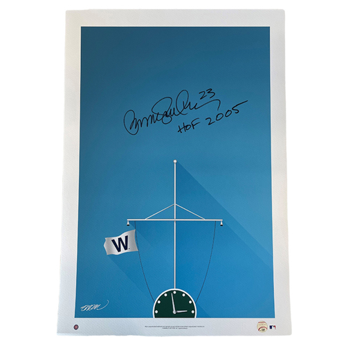 Photo of Fly the 'W' Print -- Autographed by Cubs Hall of Fame Second Baseman Ryne Sandberg
