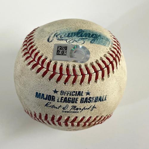 Game-Used Baseball - Jorge Soler Double, Freddie Freeman RBI Double, Ozzie Albies Foul vs. Humberto Mejia  - Braves @ D-backs 9/20/2021